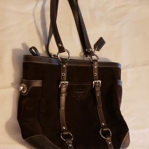 Brown Suede Coach Tote in Excellent Condition